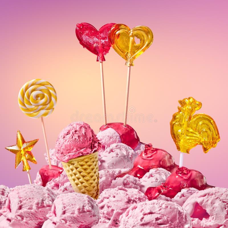 Paisaje mágico dulce con el corazón del caramelo imagenes de archivo