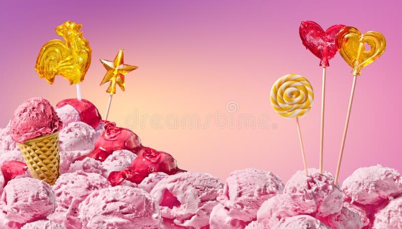 Paisaje mágico dulce del helado y del caramelo foto de archivo