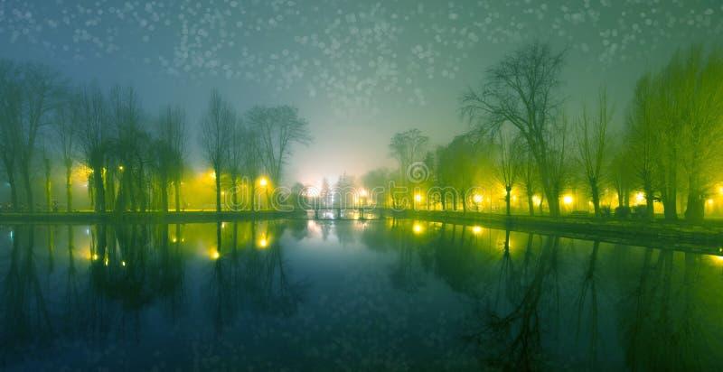 Paisaje místico con los árboles cerca de la charca en otoño brumoso incluso fotos de archivo