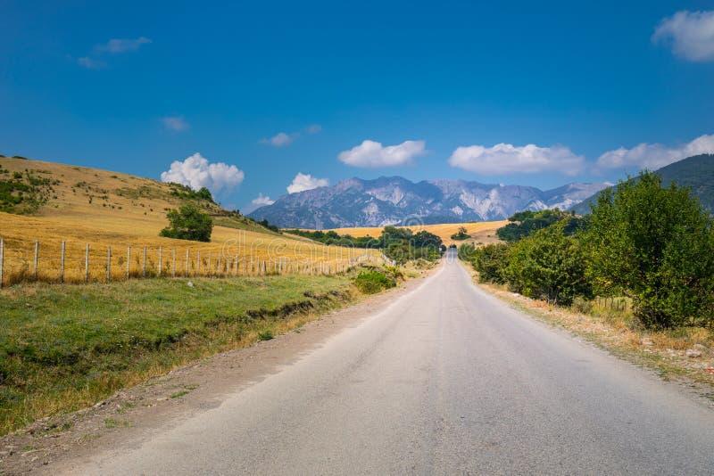 Paisaje majestuoso de las montañas y del bosque en el Cáucaso en el verano Cielo dramático con las nubes imagenes de archivo
