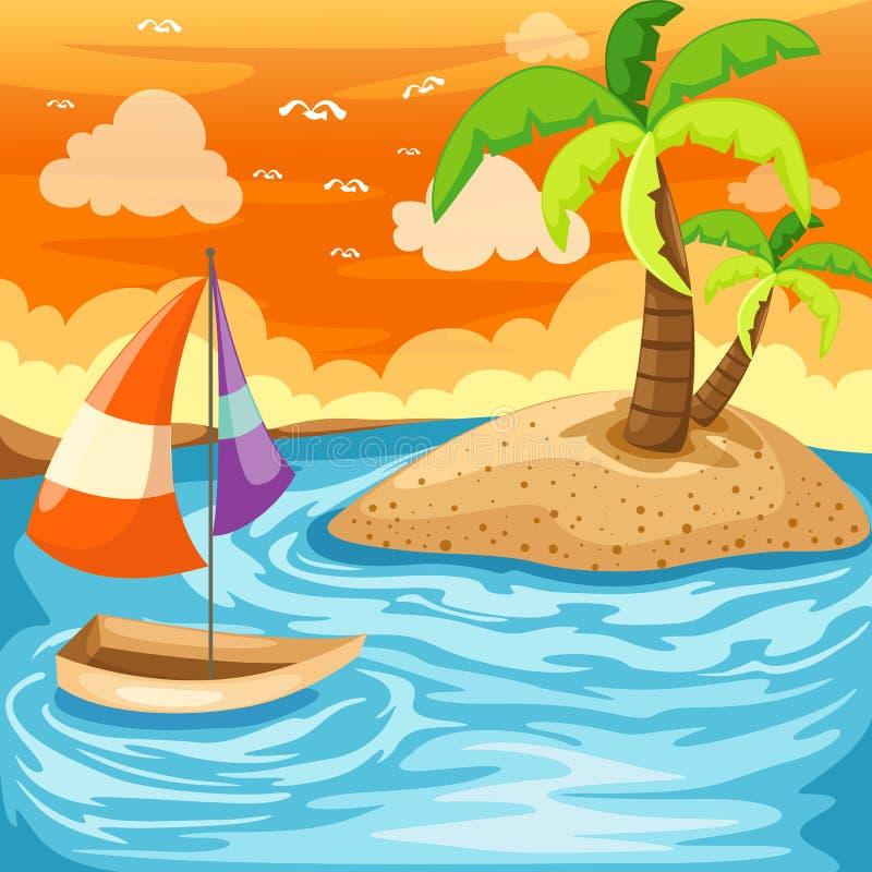 Paisaje marino ilustración del vector