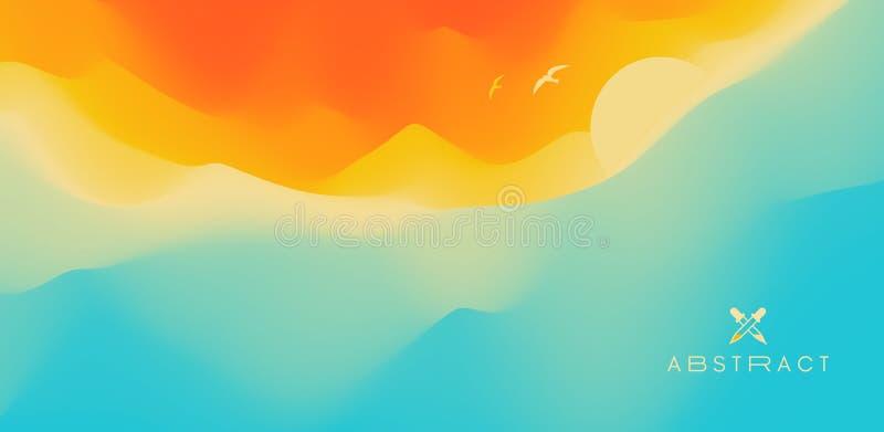 Paisaje marino con el sol Puesta del sol Puede ser utilizado como tarjeta de felicitaci?n Ilustraci?n del vector libre illustration