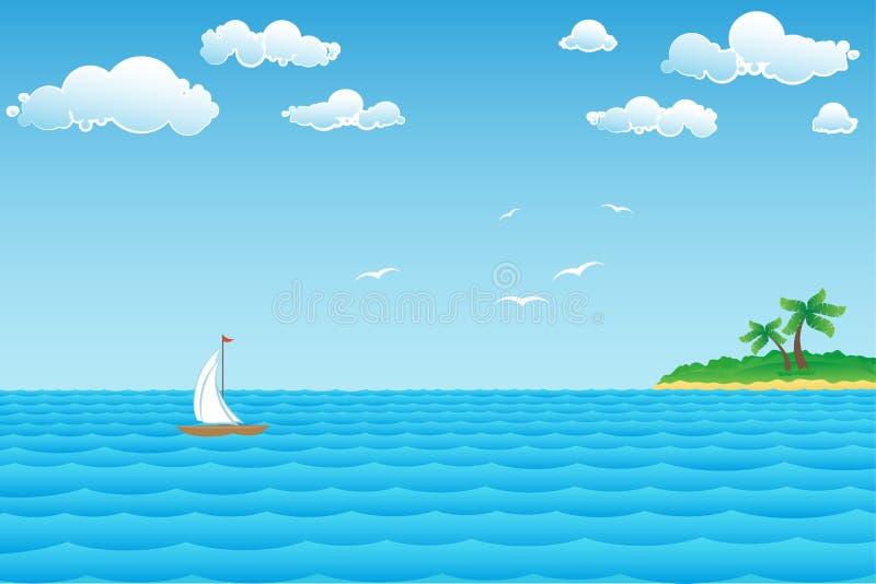 Paisaje marino con la isla stock de ilustración