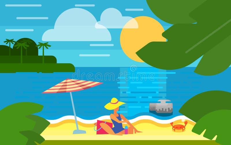 Paisaje marino con la muchacha atractiva en la playa stock de ilustración