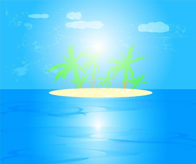 Paisaje marino con la palmera en la isla en el mar con el fondo del cielo azul y de las nubes y la reflexión del sol en el agua,  libre illustration