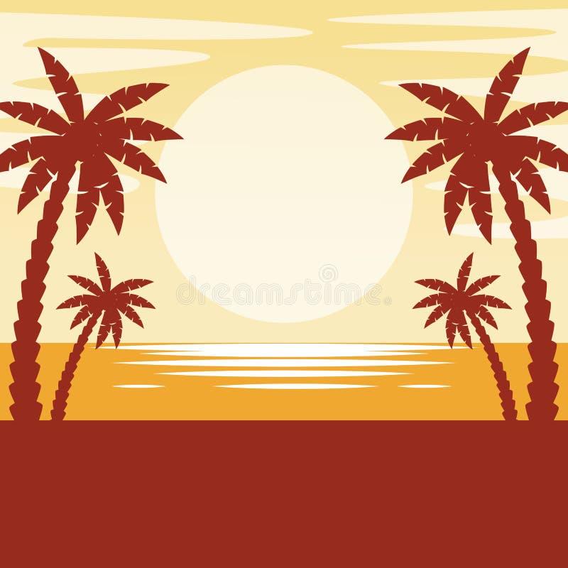 Paisaje marino con puesta del sol ilustración del vector