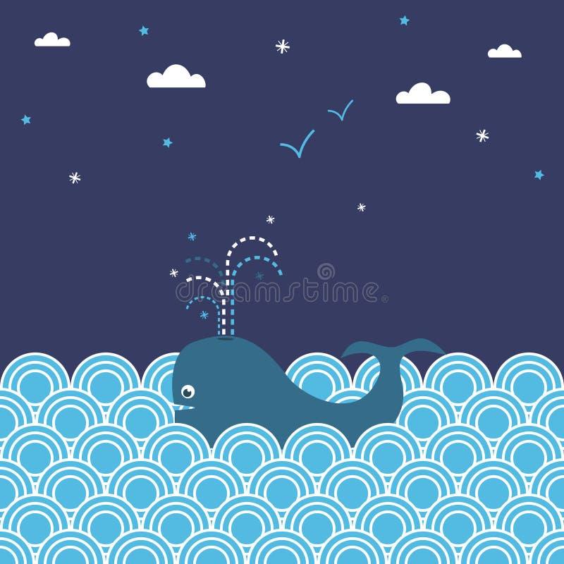 Paisaje marino de la ballena libre illustration