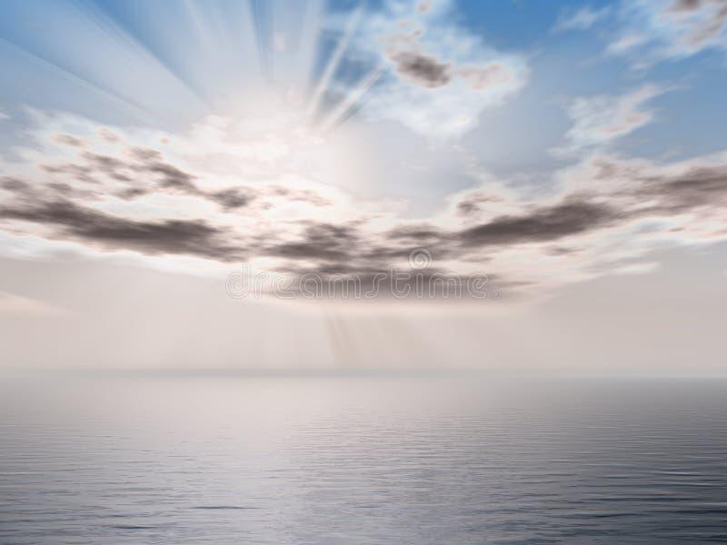 Paisaje marino de la mañana ilustración del vector