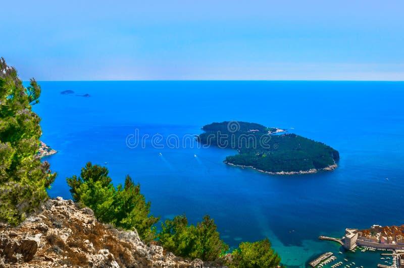 Paisaje marino en Croacia, isla de Lokrum imagen de archivo libre de regalías