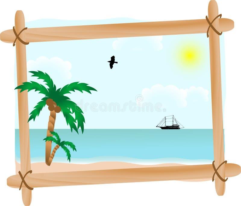 Paisaje marino en marco stock de ilustración
