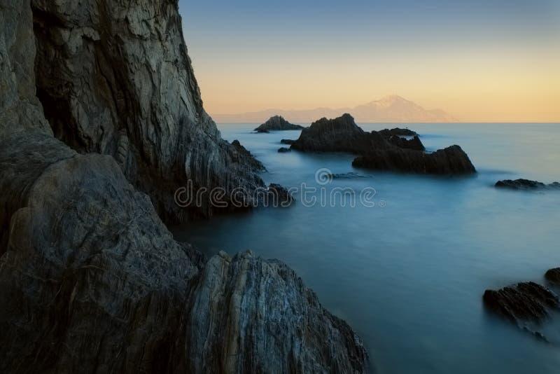 Paisaje marino largo de la puesta del sol de la exposición fotografía de archivo