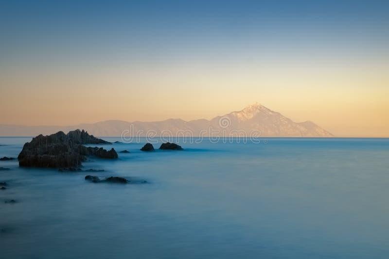 Paisaje marino largo de la puesta del sol de la exposición imagen de archivo