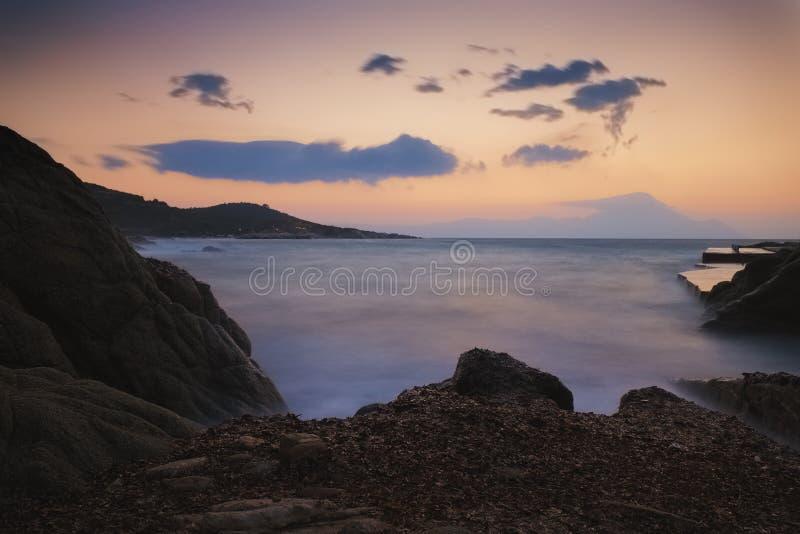 Paisaje marino largo de la puesta del sol de la exposición fotos de archivo libres de regalías