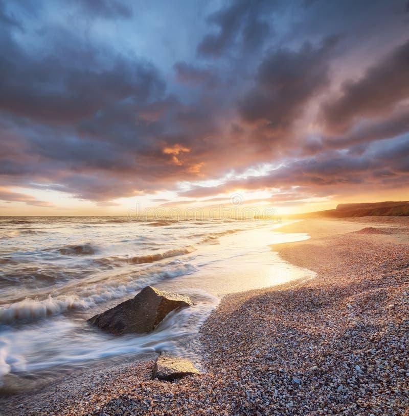 Paisaje marino natural hermoso en el tiempo de verano fotografía de archivo libre de regalías