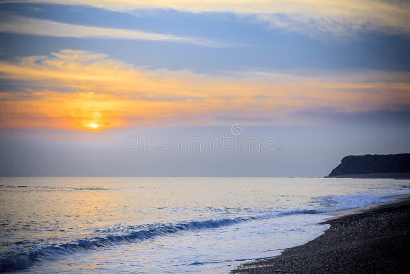 Paisaje marino pacífico del mar del sur de China de la salida del sol de la madrugada fotos de archivo libres de regalías