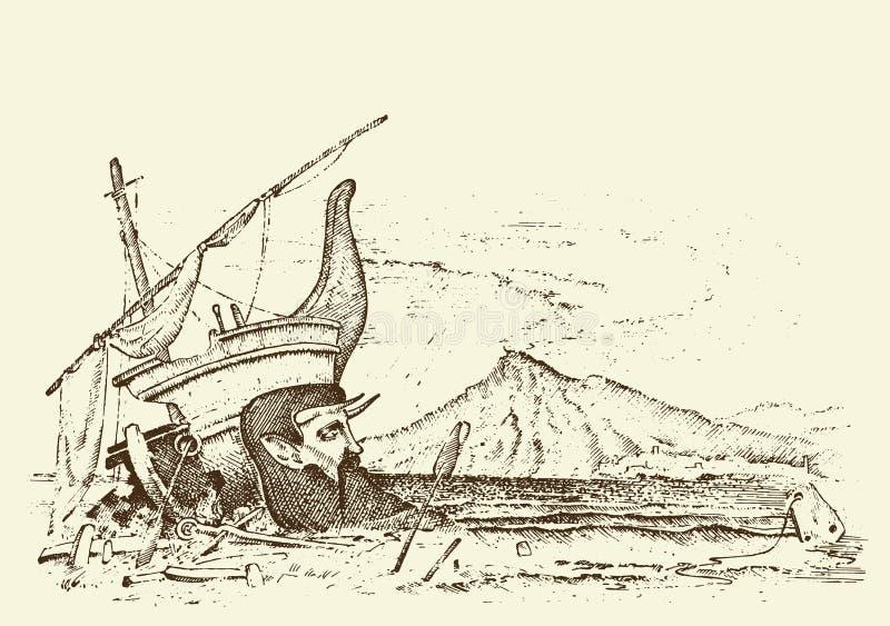Paisaje marino prehistórico o nave, arqueología o paleontología mano grabada dibujada en viejo estilo del transporte del bosquejo stock de ilustración