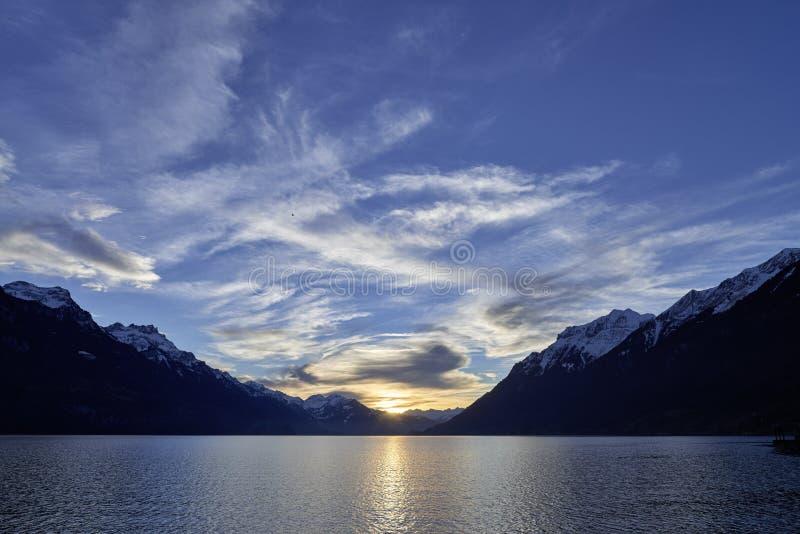 Paisaje marino Suiza Bern Brienz Evening Mood fotografía de archivo