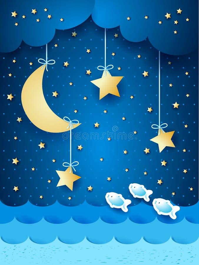 Paisaje marino surrealista con la luna y las estrellas stock de ilustración