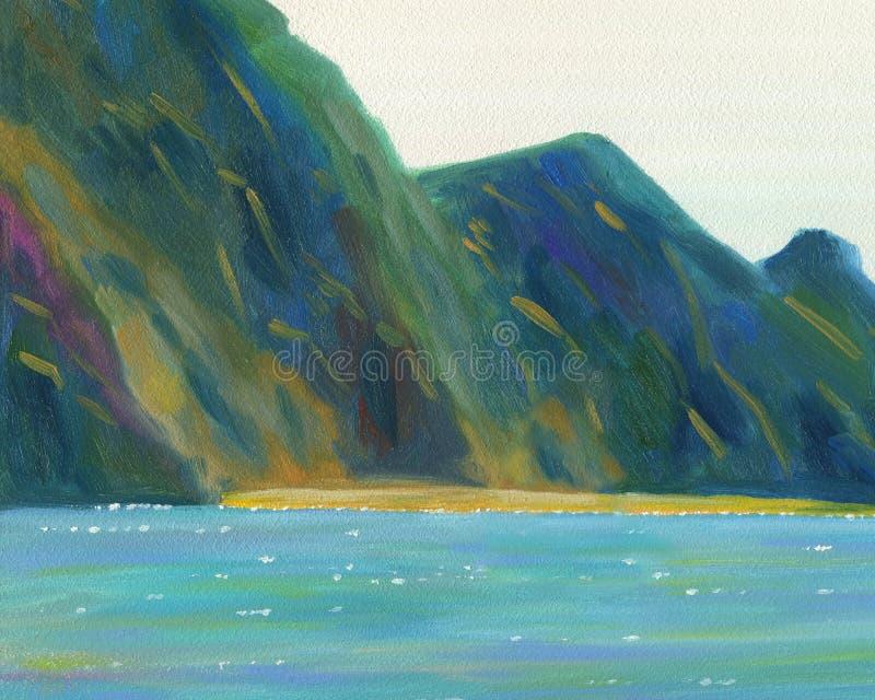 Paisaje marino Una vista de los acantilados y de la playa ilustración del vector