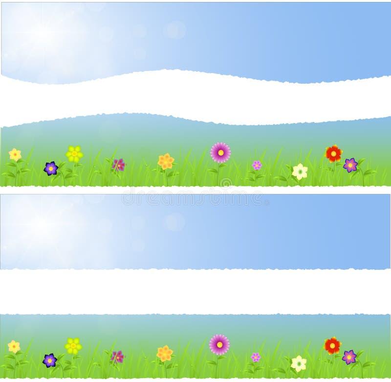 Paisaje medio de papel rasgado de la primavera con las flores ilustración del vector