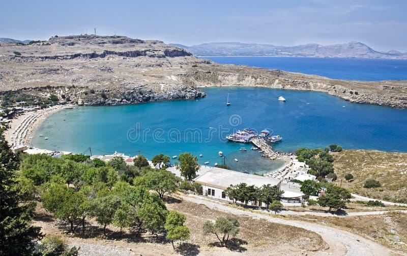 Paisaje mediterráneo, Rodas, Grecia foto de archivo