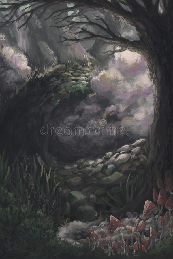 Paisaje misterioso del bosque con los árboles, la niebla y las setas Fondo del paisaje del cuento de hadas ilustración del vector