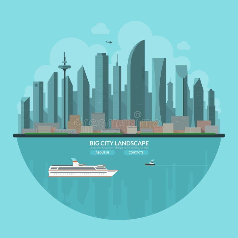 Paisaje moderno de la ciudad Fondo urbano del paisaje ilustración del vector