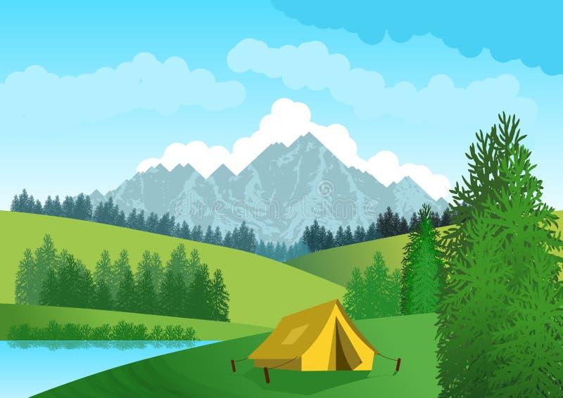 Paisaje natural con el cielo azul, las montañas en fondo, las colinas verdes, los árboles y el primero plano una tienda de campañ stock de ilustración