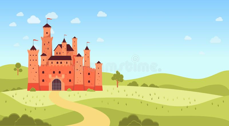 Paisaje natural con estilo plano medieval de la historieta del castillo y del copyspace stock de ilustración