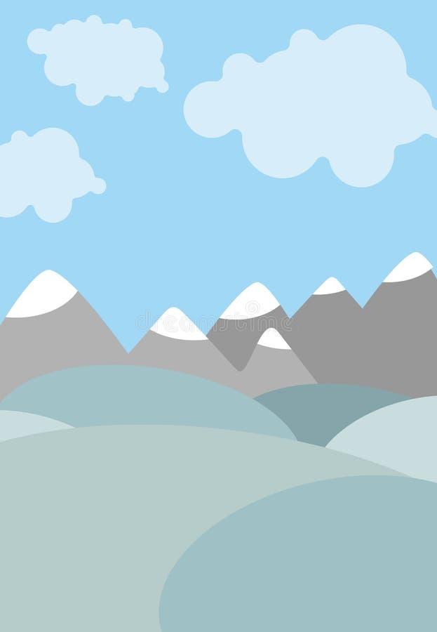 Paisaje natural de la historieta Cielo con las nubes Montañas y campos stock de ilustración
