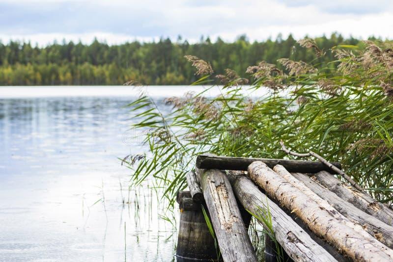 Paisaje natural hermoso con las vistas del lago y de los puentes de madera foto de archivo