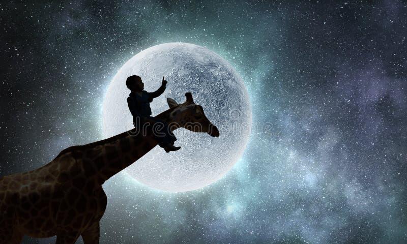 Paisaje natural y jirafa del safari Técnicas mixtas fotos de archivo libres de regalías