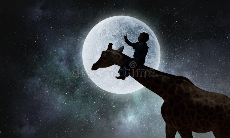 Paisaje natural y jirafa del safari Técnicas mixtas fotografía de archivo libre de regalías