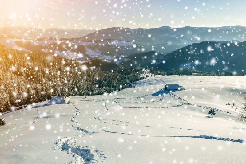 Paisaje navideño en invierno al amanecer Camino de la huella humana en la nieve profunda y blanca cristalina a través del campo v fotografía de archivo
