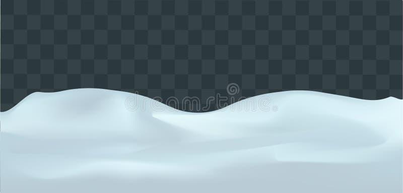 Paisaje Nevado aislado en fondo transparente oscuro Ejemplo del vector de la decoración del invierno Fondo de la nieve snowdrift ilustración del vector