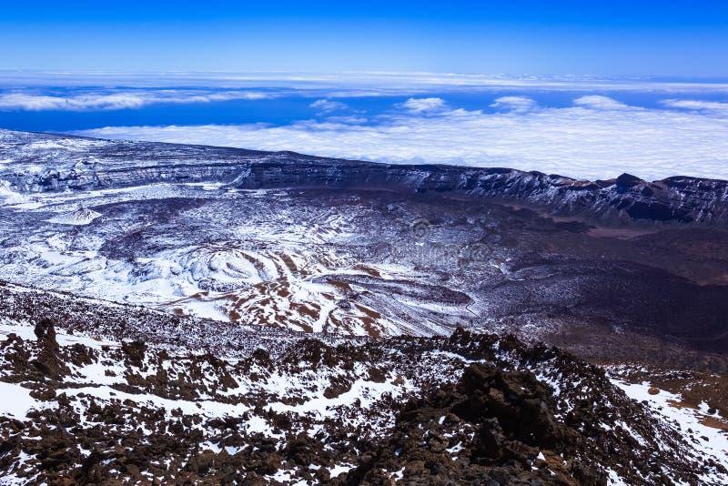 Paisaje nevado de la montaña, vista del paisaje rocoso desde arriba de la montaña, volcán, nubes foto de archivo