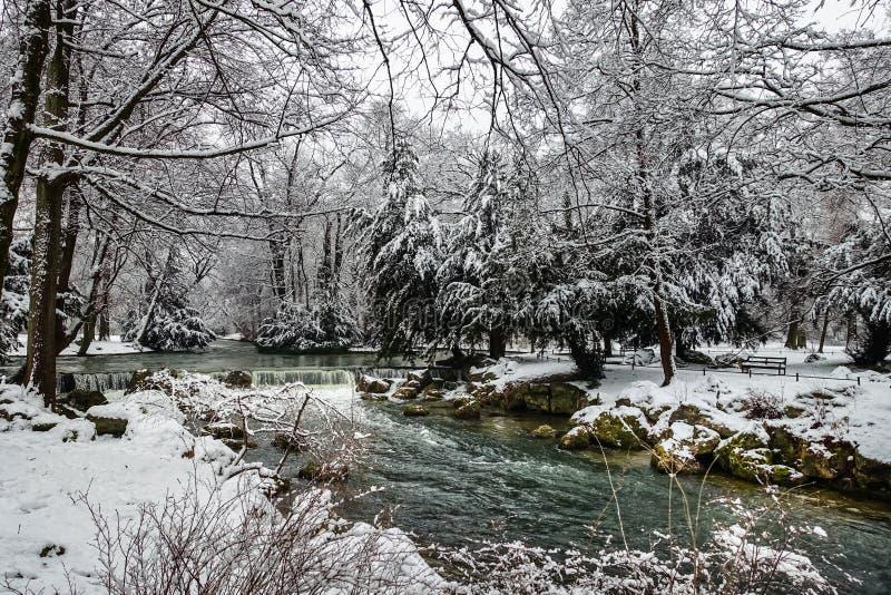 Paisaje Nevado del invierno, con los árboles Nevado a lo largo de un río, panorama estacional imagenes de archivo