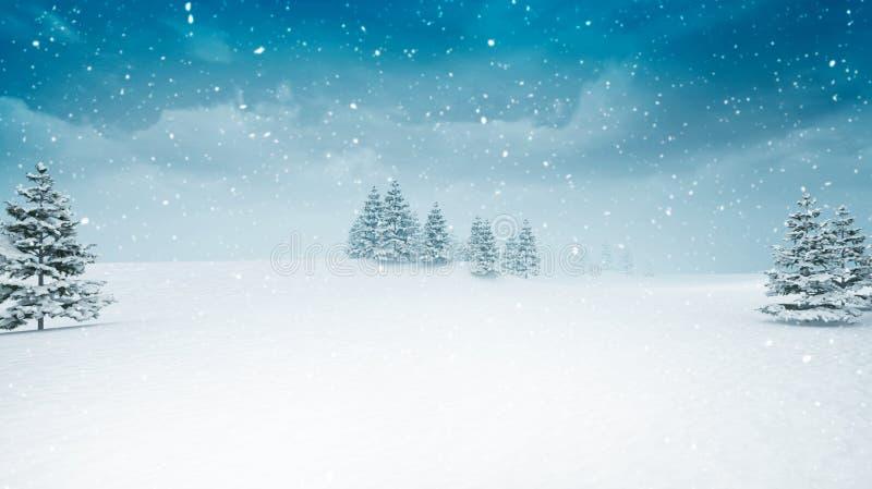 Paisaje nevado del invierno en las nevadas libre illustration