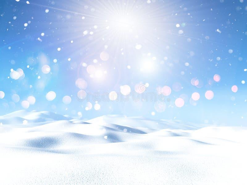 paisaje nevoso 3D ilustración del vector