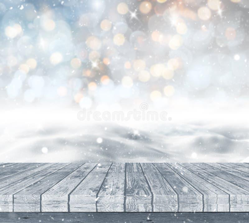 paisaje nevoso 3D con decking de madera ilustración del vector
