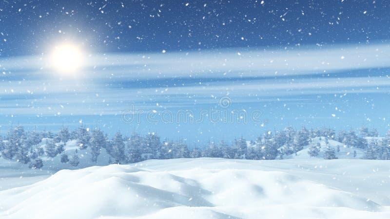 paisaje nevoso 3D con los árboles stock de ilustración