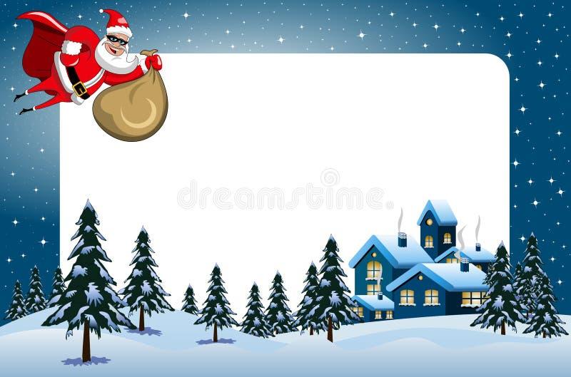 Paisaje nevoso de la noche del vuelo del super héroe de Papá Noel del marco de Navidad ilustración del vector