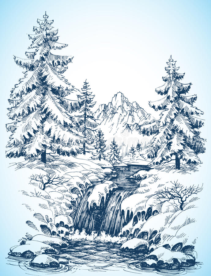 Paisaje nevoso del invierno ilustración del vector