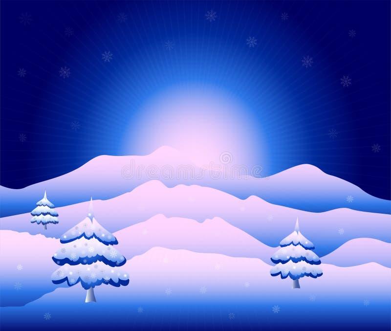 Paisaje nevoso hermoso de la montaña en Colorado ilustración del vector