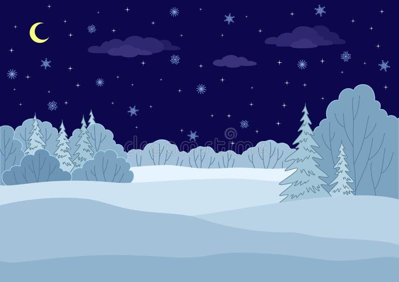 Paisaje, noche del bosque del invierno ilustración del vector
