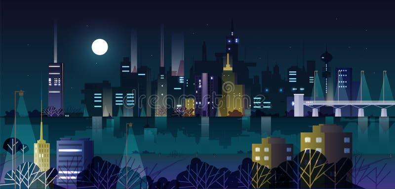 Paisaje o paisaje urbano urbano con los edificios modernos y los rascacielos iluminados por las luces de calle en la noche Horizo ilustración del vector