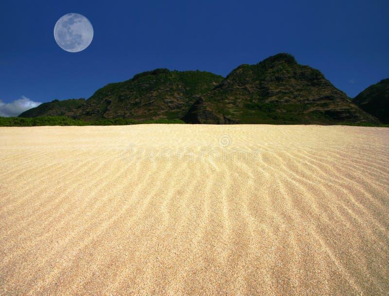 Paisaje ondulado de la arena con la luna del desplazamiento imágenes de archivo libres de regalías