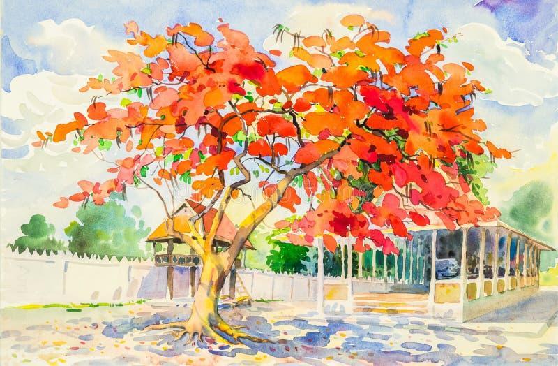 Paisaje original de la pintura de la acuarela de las flores de pavo real libre illustration