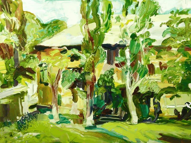Paisaje original del pueblo de la primavera de la pintura al óleo stock de ilustración