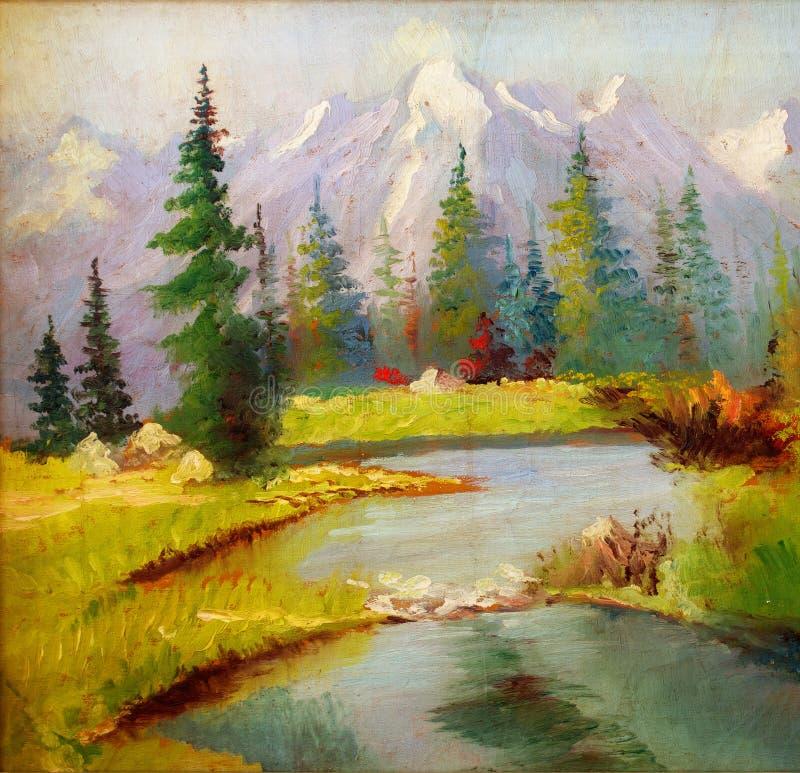 Paisaje original hermoso de la pintura al óleo en lona Montañas nevadas en el fondo ilustración del vector